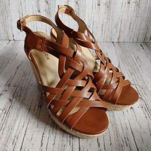 HARLOW | Wedge Heel Strappy Brown Sandal Size 9